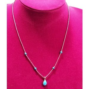 Vintage sterling liquid silver turquoise Necklace